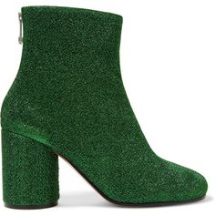 Maison Margiela Textured-lamé ankle boots ($600) ❤ liked on Polyvore featuring shoes, boots, ankle booties, green, maison margiela, glitter booties, zipper boots, high heel booties, short boots and high heel ankle booties