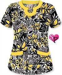 UA Tropical Delight Black Rounded U Neck Top has a beautiful floral print with side slits and back darts for a great fit. Shop Fashion Scrubs at UA! Scrubs Outfit, Scrubs Uniform, Womens Fashion For Work, Work Fashion, Cute Scrubs, Sewing Blouses, Medical Scrubs, Scrub Tops, Work Attire