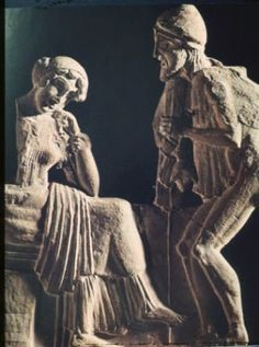 Odysseus, disguised as a beggar, and Penelope  Roman sculpture  1st century AD