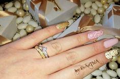 #nails #longnails #ballerinanails #roses #3droses #3dnails #pink #white #gold #weddingnails #ring #prettynails #nails2inspire #cutenails #gelnails #gelpolish #cmarso #by_Evanthia