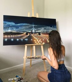 Airplane view ✈️ Airplane View, My Arts, Crop Tops, Painting, Women, Fashion, Moda, Fashion Styles, Painting Art