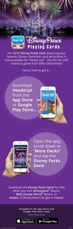 The new Disney Parks-themed deck is now available on the popular Heads Up! App from Ellen DeGeneres. It's the perfect line hack while waiting for your favorite attraction at Disney Parks! Download the deck for free when you visit Disneyland Resort, Walt Disney World Resort, or Aulani, A Disney Resort & Spa in Hawaii!