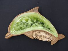 Vintage Souvenir Kings Island Treasure Craft USA Green Glazed Dolphin Ashtray
