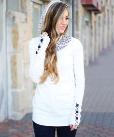Look at this So Perla White Mesh Detail Hoodie on #zulily today!