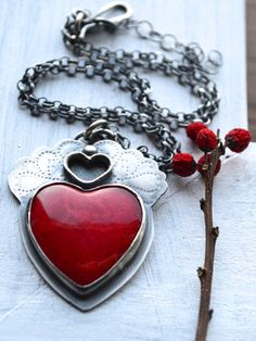 Red Coral Heart Necklace in Textured Sterling Silver by EONDesign