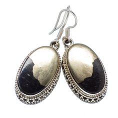 "Pyrite In Magnetite (healer's Gold) 925 Sterling Silver Earrings 1 1/2"" EARR318054"