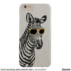 """Cool cute funny zebra sketch with trendy glasses barely there iPhone 6 plus case This form-fitting, featherlight Case-Mate custom case provides full coverage to your iPhone 6/6s Plus with 5.5"""" inch screen while still keeping your device ultra sleek and stylish.. affiliate"""