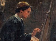 Self portrait, Helen Boukoura-Altamoura The first Greek woman painter. Chiaroscuro, Woman Painting, Love Art, Art School, Impressionism, Portrait, Artist, Greek Woman, Women's Rights