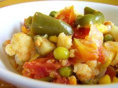 Zelelninove subzi Green Peas, Indie, Coconut Milk, Fruit Salad, Cauliflower, Vegetarian, Dishes, Food, Red Peppers