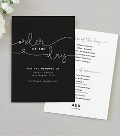 Kate Wedding Order Of The Day Program Cards