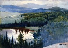 """"""" Winslow Homer (1836-1910) Indian Village, Adirondacks (1894) watercolor and graphite on paper 38 x 54 cm """""""