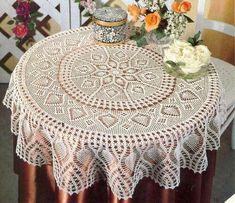 Home Decor Crochet Patterns Part 97 - Beautiful Crochet Patterns and Knitting Patterns Crochet Tablecloth Pattern, Free Crochet Doily Patterns, Crochet Bedspread, Crochet Diagram, Knitting Patterns, Free Pattern, Crochet Round, Crochet Home, Mantel Redondo A Crochet