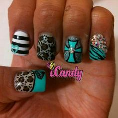 im in love with these nails! im going to see if they can do amazing nail art like this/ fun manicure! Nail Art Designs, Pretty Nail Designs, Acrylic Nail Designs, Acrylic Nails, Tattoo Designs, Get Nails, Love Nails, Pretty Nails, Cross Nails