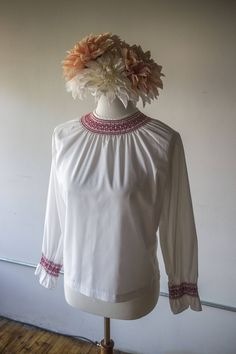 8fc3b4c86a79 1970s White and Red Embroidered Long Sleeve Blouse by AveryVintageShop on  Etsy 1970s