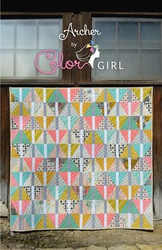 Archer quilt pattern by Color Girl. Modern triangle, scrappy quilt for fat quarters