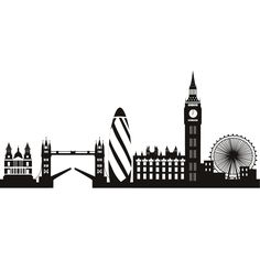 London Skyline Decorative Wall Art Stickers Decal this would look lovely on my desk! London Skyline Tattoo, Skyline Von London, London Tattoo, London Skyline Silhouette, Wolf Dreamcatcher Tattoo, London Party, 3d Laser, Map Art, Room London