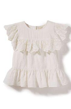 Main Image - Peek Georgia Crochet Woven Top (Toddler Girls, Little Girls & Big Girls)