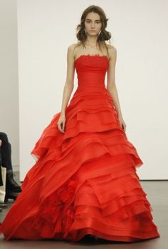 Vera Wang 2013 is a wild departure from classic white wedding dresses.  These new Vera Wang wedding dresses are a symphony in reds and scarlets -  definitely ... eb0822114f4c