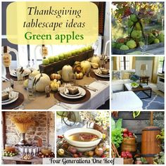 Jessica @ Four Generations One Roof using green apples in her home to decorate for fall. @4gens1roof #diyhomedecor