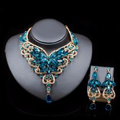 Necklace Fashion Indian Jewelry Set Dubai Crystal Necklace Earrings Bridal Jewelry Sets For Brides Party Wedding Accessories Decoration Indian Jewelry Sets, African Jewelry, Bridal Jewelry Sets, Bridal Earrings, Wedding Jewelry, Cheap Jewelry, Boho Jewelry, Fashion Jewelry, Jewelry Sites