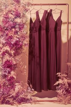 Give us all the burgundy bridesmaid dresses! Wine bridesmaid dresses from David's Bridal are a beautiful choice for fall and winter weddings. Wine Bridesmaid Dresses, Lace Bridesmaids, Homecoming Dresses, Wedding Dresses, Burgundy Wedding, Red Wedding, Girls Dresses, Flower Girl Dresses, Davids Bridal