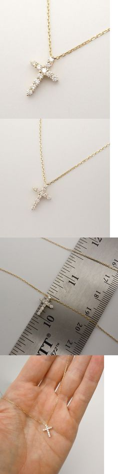Diamond 164331: 14K Yellow Gold Prong Set Diamond Cross Pendant Necklace 16 18 20 Vs-Si1 New -> BUY IT NOW ONLY: $335.0 on eBay!