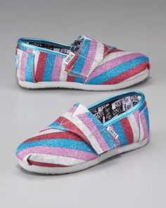 tiny TOMS striped glitter shoes <3