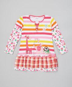 Look at this #zulilyfind! Rainbow Tiered Zoo Animals Tee - Infant, Toddler & Girls #zulilyfinds