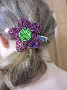 French Beaded Flower hair clip by timelessbloomsNbeads on Etsy, $30.00