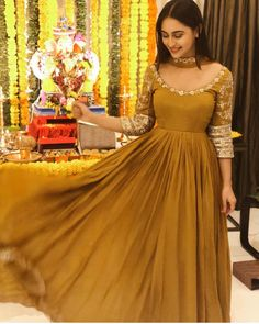 Festive ready 💖 Our flawless beauty and all time favorite Krystle DsouZa in a mustard embroidered Anarkali for Ganpati Darshan by label… Designer Party Wear Dresses, Kurti Designs Party Wear, Salwar Designs, Pakistani Outfits, Indian Outfits, Stylish Dresses, Fashion Dresses, Formal Dresses, Wedding Dresses