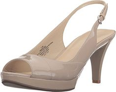 Nine West Women's Kalner Taupe Synthetic Sandal. A great look to go with your cocktail dress!. Faux leather upper. Adjustable buckle closure at ankle. Open-toe design. Synthetic lining and footbed. Man-made outsole. Wrapped heel. Imported. Measurements: Heel Height: 3 1⁄4 in Weight: 10 oz Platform Height: 3⁄4 in Product measurements were taken using size 9, width M. Please note that measurements may vary by size.