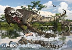 Tyrannosaurus Rex vs Deinosuchus rugosus. Basically, T-Rex versus alligator or crocodile. The white skull design on the dinosaur is cool, although I'm not sure how it would work as camouflage.