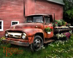 Flower Truck (Antique Ford Truck) - Original Photograph 8x10 - Red Farm Farmhouse Barn Flowers Rustic Country Garden Home Decor Wall Art. $28.00, via Etsy.