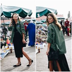 MARRAKECH: TWO OUTFITS - Lovely Pepa by Alexandra. Black asymmetric dress+black ankle strap embellished flat shoes+khaki army style jacket+black thin belt+black shoulder bag+mirrored sunglasses. Spring Casual Outfit 2017