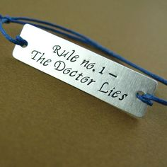 The Doctor Lies Cotton Cord Bracelet - Spiffing Jewelry The Doctor, Fandom Jewelry, Geek Jewelry, Jewellery, Trust, Don't Blink, Dr Who, Superwholock, Tardis