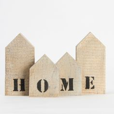 Wood houses HOME - ZiZo Living. Too bad they are sold out. Scrap Wood Crafts, Wood Block Crafts, Wooden Projects, Wooden Crafts, Wood Blocks, Ceramic Houses, Wooden Houses, Craft Day, Craft Gifts