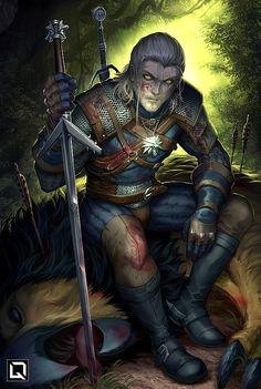 The Witcher: Ciri & Geralt - Created by Drake Tsui Witcher 3 Art, The Witcher Game, The Witcher Geralt, The Witcher Books, Paladin, Fantasy Warrior, Fantasy Art, Illustration Fantasy, Fanart