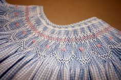 I gave you a peak of this blue gingham bishop  in a previous blog , with the promise of sharing the smocking design. I had not forgotten. T...