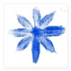 "Blue metallic flower Square Sticker 3"" x 3"" on CafePress.com"