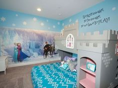 Frozen themed girl's room with a castle bed ---- 25 Cute Frozen Themed Room Decor Ideas Your Kids Will Love