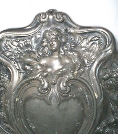 ART NOUVEAU SILVER PLATE HAND MIRROR WITH LADY IN HIGH RELIEF
