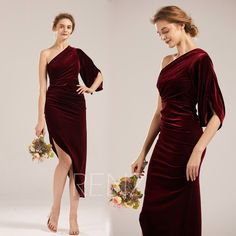 Party Dress Burgundy Velvet Bridesmaid Dress One Shoulder Half Sleeves Sheath Prom Dress High-low Asymmetrical Skirt Formal Dress High Low Prom Dresses, Long Wedding Dresses, Formal Dresses, Sequin Dress, Strapless Dress, Velvet Bridesmaid Dresses, Different Dresses, Asymmetrical Skirt, 34c