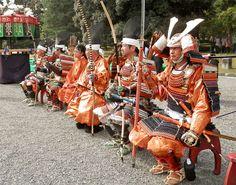 Jidai-Matsuri (Jidai-festival)in Kyoto Japan.   Muromachi period costume.   Light armed samurai warriors.