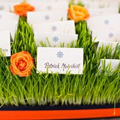 Nautical-themed escort cardThe couple incorporated the ns were set in a fun grassy display accented by bright orange roses Wedding Crafts, Wedding Decorations, Kylie Baby Shower, Dream Wedding, Wedding Day, Orange Roses, Table Cards, Nautical Theme, Wedding Designs
