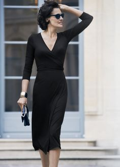 Inès de La Fressange models an LBD from her new collection for UNIQLO - shot on location in Paris. #inesxuniqlo #Parisian