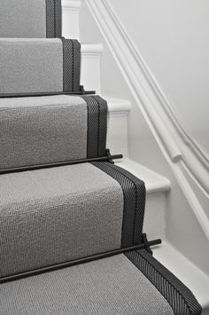 Wool Stair Runners Bowloom wool carpet, bound with Stripe T - colour 1 binding tape & Atlantic - Austin Black stair rods. : Wool Stair Runners Bowloom wool carpet, bound with Stripe T – colour 1 binding tape & Atlantic – Austin Black stair rods. Staircase Carpet Runner, Stairs With Carpet Runner, Hallway Carpet Runners, Black Stairs, Hallway Flooring, Tiled Hallway, House Ideas, Stair Rods, Stair Runner Rods