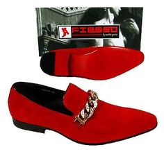 2a75299cf0d Details about Men s New Fashion Fiesso Suede Red Slip on Shoes with Gold  Studs Chain FI 6788. eBay. Men s LoafersDress ...