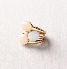 Pink Opal Three Stone Ring - LOFT