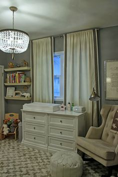 cozy feel with lots of textures and tone-on-tone patterns in this gender neutral nursery