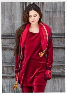 Velour cotton/polyester tunic – {{p_2014_christmas_velour_title}} – GUDRUN SJÖDÉN – Webshop, mail order and boutiques | Colorful clothes and home textiles in natural materials.